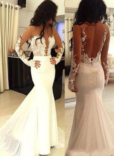 Satin Long Sleeves Trumpet/Mermaid Prom Dresses Scoop Neck Appliques Lace Sweep Train (018217285)