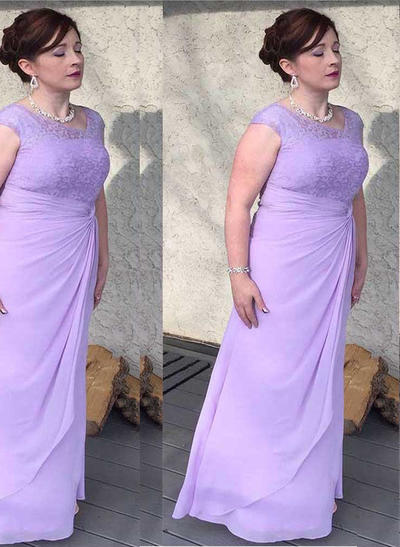 A-Line/Princess Scoop Neck Chiffon Sleeveless Floor-Length Cascading Ruffles Mother of the Bride Dresses (008212773)