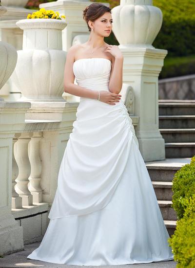 Fashion Sweep Train A-Line/Princess Wedding Dresses Strapless Taffeta Sleeveless (002000692)