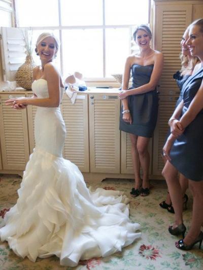 simple trumpet wedding dress
