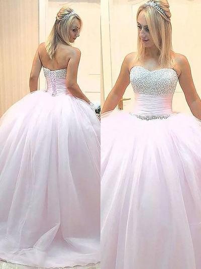 Tulle Sleeveless Ball-Gown Prom Dresses Sweetheart Beading Floor-Length (018210262)