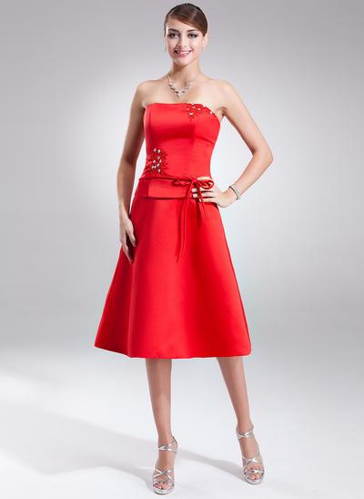 Satin Sleeveless A-Line/Princess Bridesmaid Dresses Strapless Sash Beading Bow(s) Knee-Length (007001570)