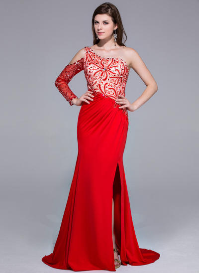Charmeuse Jersey Long Sleeves Trumpet/Mermaid Prom Dresses One-Shoulder Beading Split Front Sweep Train (018025647)