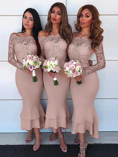 Stretch Crepe Long Sleeves Sheath/Column Bridesmaid Dresses Off-the-Shoulder Lace Asymmetrical (007217802)