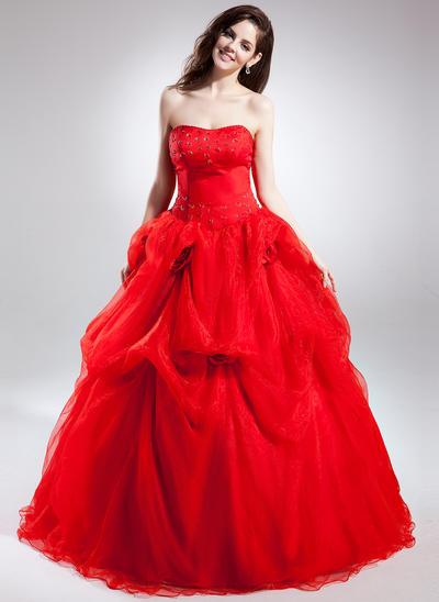 Newest Chapel Train Ball-Gown Wedding Dresses Sweetheart Organza Sleeveless (002210601)