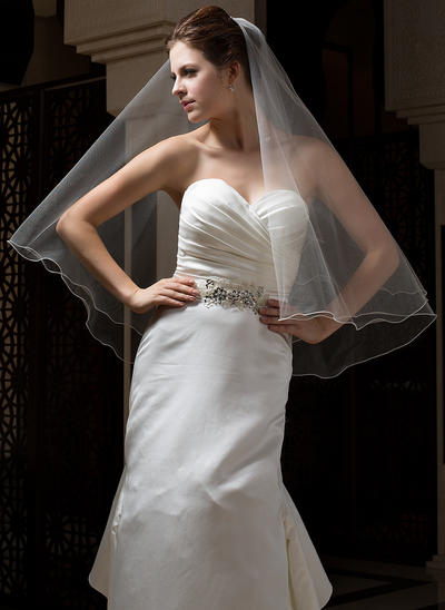 Fingertip Bridal Veils Tulle One-tier Classic With Scalloped Edge Wedding Veils (006151161)