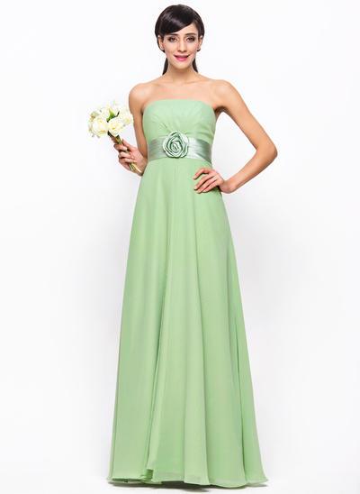 Chiffon Sleeveless Empire Bridesmaid Dresses Strapless Ruffle Flower(s) Floor-Length (007198723)