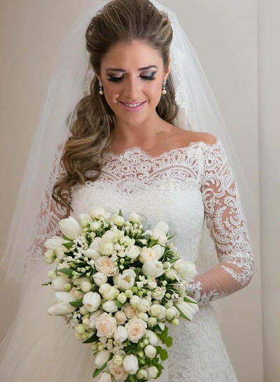 Elegant Sweep Train Sheath/Column Wedding Dresses Off-The-Shoulder Tulle Long Sleeves (002147816)