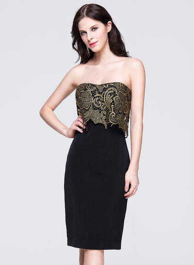 Sheath/Column Sweetheart Lace Sleeveless Knee-Length Evening Dresses (017201952)