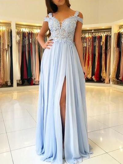 A-Line/Princess Off-the-Shoulder Chiffon Short Sleeves Floor-Length Appliques Lace Evening Dresses (017217818)
