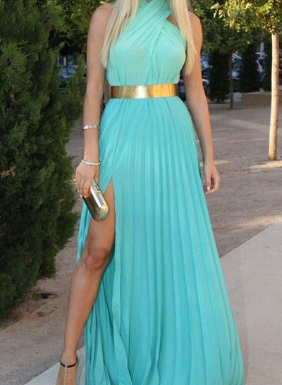 Chiffon Sleeveless A-Line/Princess Prom Dresses Scoop Neck Split Front Sweep Train (018145828)
