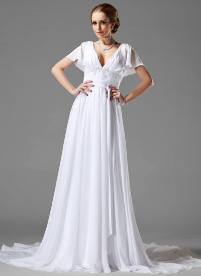 Magnificent Chapel Train A-Line/Princess Wedding Dresses Sweetheart Chiffon Short Sleeves (002000687)