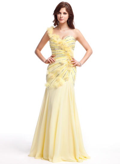 Chiffon Sleeveless A-Line/Princess Prom Dresses One-Shoulder Ruffle Beading Flower(s) Sequins Floor-Length (018025283)