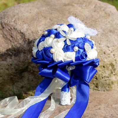 "Bridal Bouquets Round Wedding Satin/Silk 11.8""(Approx.30cm) Wedding Flowers (123189445)"