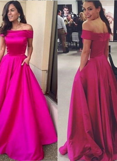 Satin Short Sleeves A-Line/Princess Prom Dresses Off-the-Shoulder Ruffle Sweep Train (018145644)