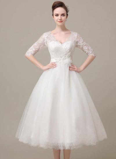 Flattering Tea-Length A-Line/Princess Wedding Dresses V-neck Tulle Half Sleeves (002148039)