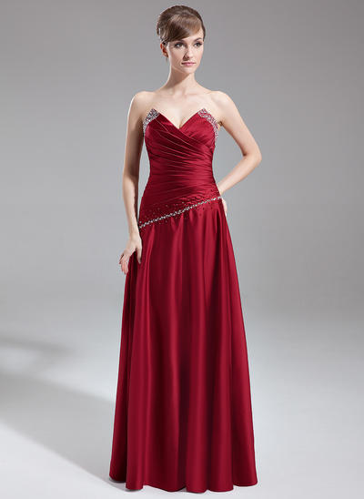 Satin Sleeveless A-Line/Princess Bridesmaid Dresses Scalloped Neck Ruffle Beading Floor-Length (007001127)