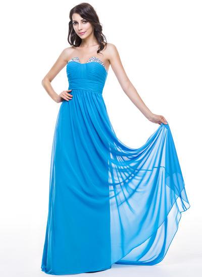 Chiffon Sleeveless A-Line/Princess Prom Dresses Sweetheart Ruffle Beading Sequins Sweep Train (018051145)