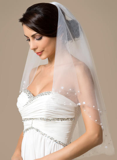 Elbow Bridal Veils Tulle Two-tier Classic With Cut Edge Wedding Veils (006151785)