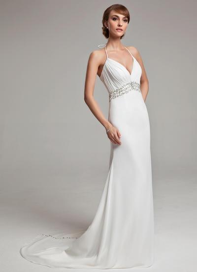 Princess Court Train A-Line/Princess Wedding Dresses Halter Chiffon Sleeveless (002001676)