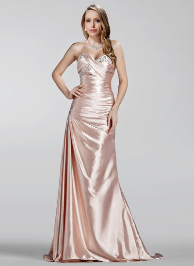 A-Line/Princess Sweetheart Charmeuse Sleeveless Sweep Train Ruffle Beading Evening Dresses (017020330)