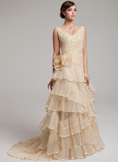 Newest Sweep Train A-Line/Princess Wedding Dresses Sweetheart Organza Sleeveless (002211440)