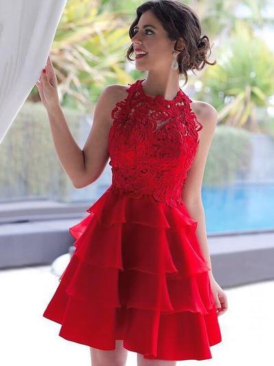 A-Line/Princess Scoop Neck Chiffon Sleeveless Short/Mini Cascading Ruffles Homecoming Dresses (022212416)