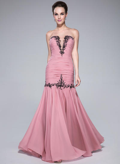Chiffon Sleeveless Trumpet/Mermaid Prom Dresses Sweetheart Ruffle Beading Appliques Lace Floor-Length (018041148)