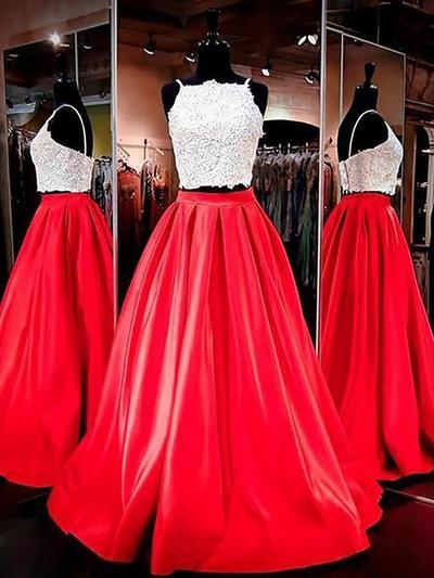 A-Line/Princess Square Neckline Satin Sleeveless Floor-Length Evening Dresses (017196700)