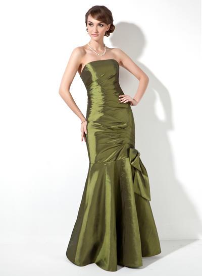Taffeta Sleeveless Trumpet/Mermaid Bridesmaid Dresses Strapless Ruffle Beading Bow(s) Floor-Length (007000906)