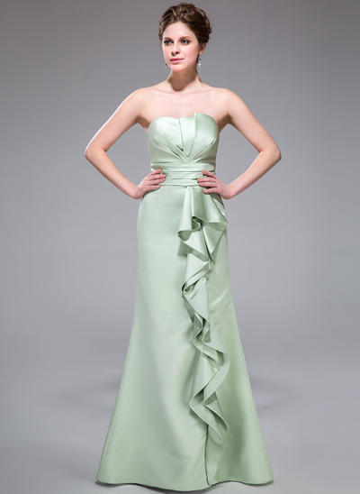 Satin Sleeveless Trumpet/Mermaid Bridesmaid Dresses Scalloped Neck Cascading Ruffles Floor-Length (007198273)