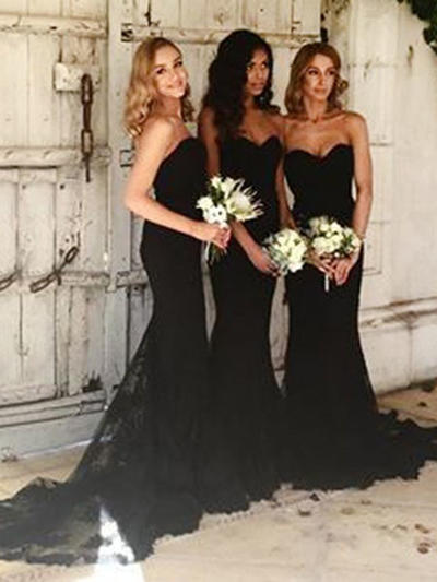 Lace Sleeveless Trumpet/Mermaid Bridesmaid Dresses Sweetheart Court Train (007145098)