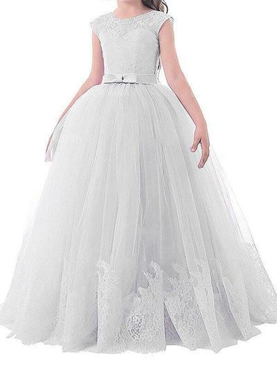 Modern Floor-length Ball Gown Flower Girl Dresses Scoop Neck Tulle Sleeveless (010211818)