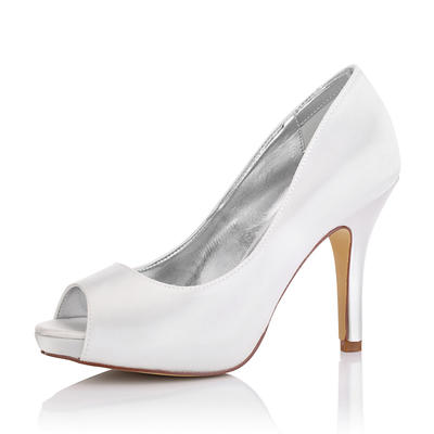 Women's Peep Toe Sandals Dyeable Shoes Stiletto Heel Satin Yes Wedding Shoes (047206226)