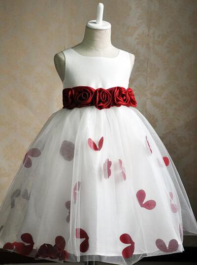 Simple Knee-length Ball Gown Flower Girl Dresses Scoop Neck Satin/Tulle Sleeveless (010146826)