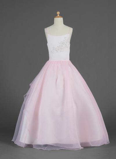 Elegant Floor-length Ball Gown Flower Girl Dresses Scoop Neck Organza Sleeveless (010014620)