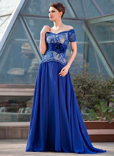A-Line/Princess Off-the-Shoulder Chiffon Lace Short Sleeves Sweep Train Ruffle Beading Flower(s) Sequins Mother of the Bride Dresses (008211464)