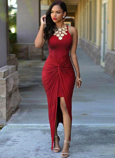 Sheath/Column Scoop Neck Jersey Sleeveless Asymmetrical Ruffle Beading Evening Dresses (017218604)