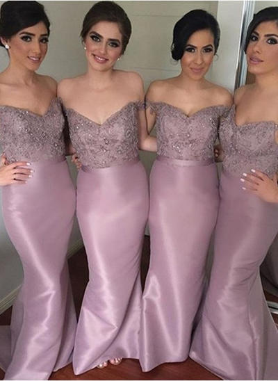 Taffeta Lace Sleeveless Sheath/Column Bridesmaid Dresses Off-the-Shoulder Beading Sequins Sweep Train (007144955)