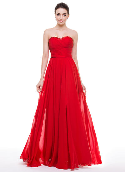 Chiffon Sleeveless A-Line/Princess Prom Dresses Sweetheart Ruffle Beading Appliques Lace Sequins Bow(s) Floor-Length (018056784)