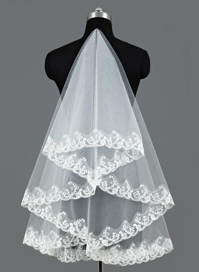 Waltz Bridal Veils Tulle One-tier Oval/Mantilla With Lace Applique Edge Wedding Veils (006151639)