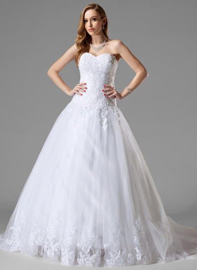 Delicate Court Train Ball-Gown Wedding Dresses Sweetheart Tulle Sleeveless (002000467)