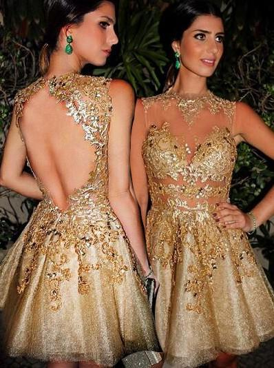 A-Line/Princess Scoop Neck Lace Sleeveless Short/Mini Homecoming Dresses (022212370)