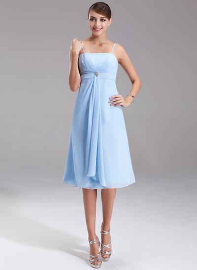 Chiffon Sleeveless Empire Bridesmaid Dresses Crystal Brooch Cascading Ruffles Knee-Length (007001080)