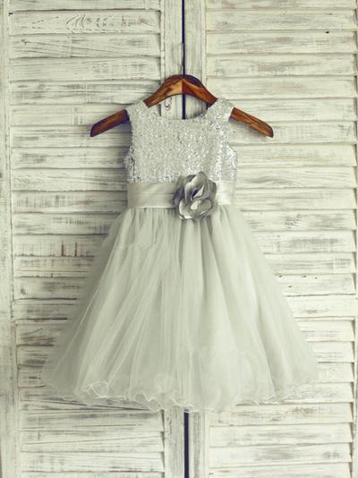 Modern Knee-length A-Line/Princess Flower Girl Dresses Scoop Neck Tulle/Sequined Sleeveless (010211941)