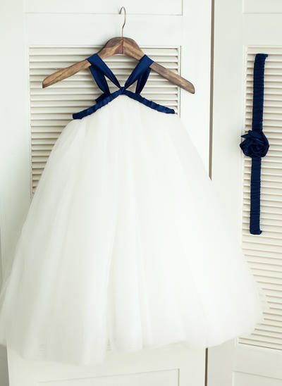 Stunning Knee-length Ball Gown Flower Girl Dresses Straps Satin/Tulle Sleeveless (010196734)