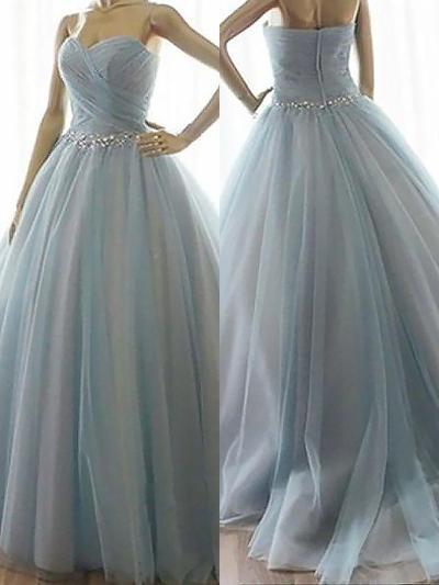 Tulle Sleeveless Ball-Gown Prom Dresses Sweetheart Beading Floor-Length (018210287)