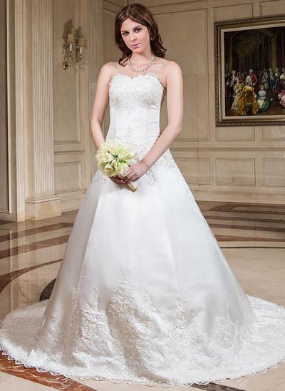 Elegant Chapel Train Ball-Gown Wedding Dresses Sweetheart Satin Sleeveless (002196847)