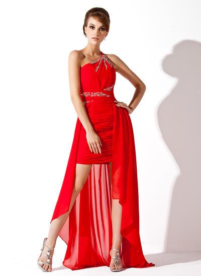 Chiffon Sleeveless A-Line/Princess Prom Dresses One-Shoulder Ruffle Beading Asymmetrical (018021113)