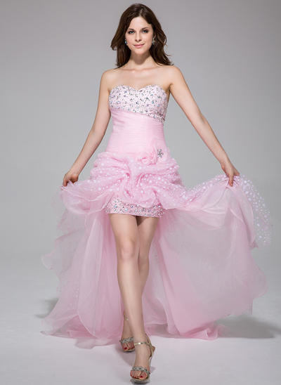 Organza Sleeveless A-Line/Princess Prom Dresses Sweetheart Ruffle Beading Flower(s) Asymmetrical (018025506)